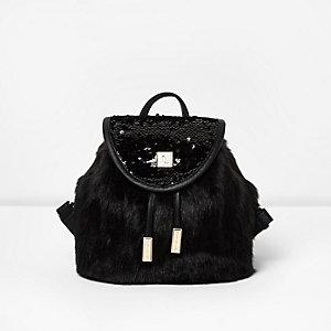 Girls black faux fur sequin backpack