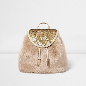 Girls cream faux fur sequin backpack