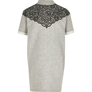 Girls grey lace sweater dress