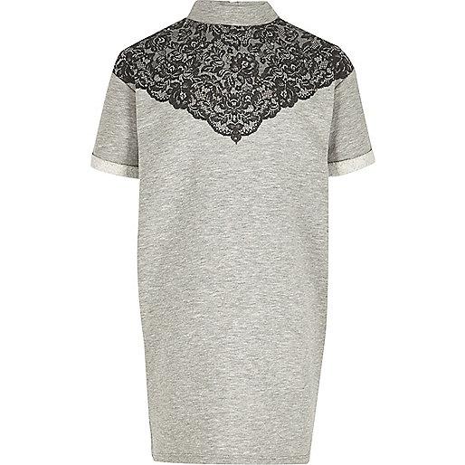 Girls grey lace sweater dress