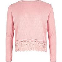 Girls bright pink crochet hem top