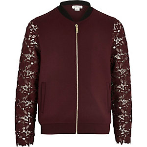Girls dark red lace sleeve bomber jacket