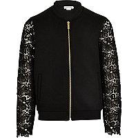 Girls black lace sleeve bomber jacket