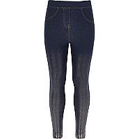 Girls blue denim metallic leggings