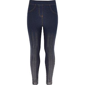 Blaue Leggings in Denim-Metallic