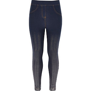 Girls blue denim foil leggings