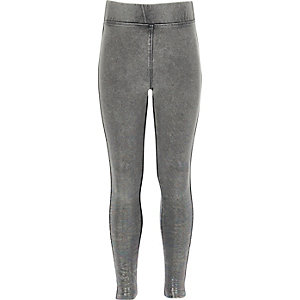 Girls grey denim metallic leggings