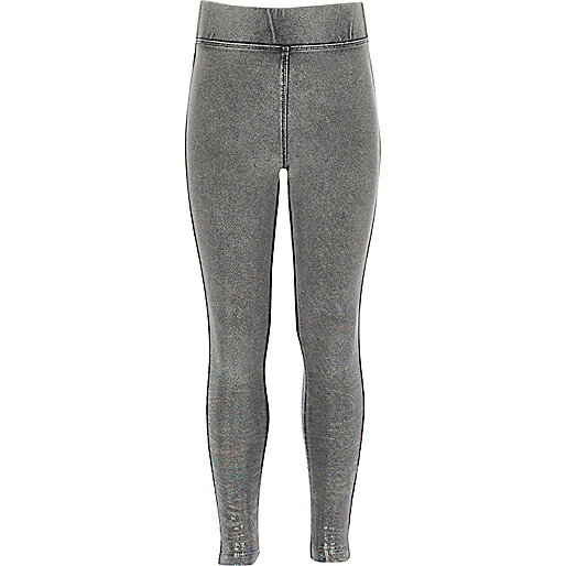 Girls grey denim foil leggings