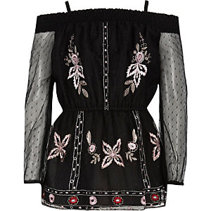 Girls black embroidered mesh bardot top