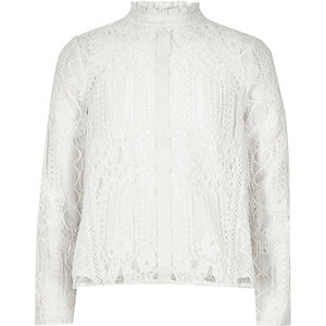 Girls white lace high neck top