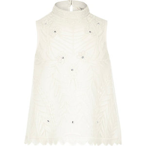 Girls white beaded shell top