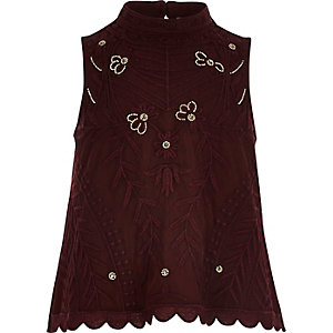 Girls dark red beaded shell top