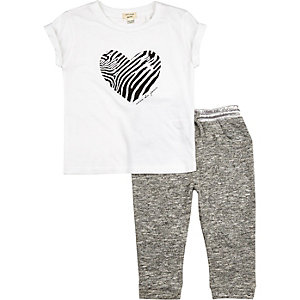 Mini girls white zebra t-shirt joggers outfit