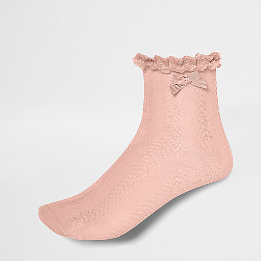 Girls pink jacquard frill ankle socks