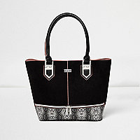 Girls black snake print shopper bag