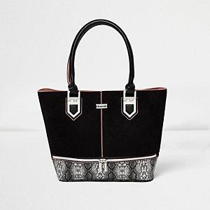 Girls black snake print shopper bag
