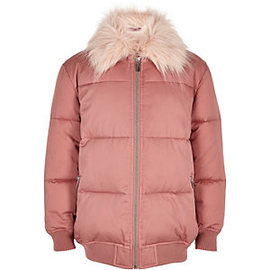 Girls pink padded coat with faux fur collar