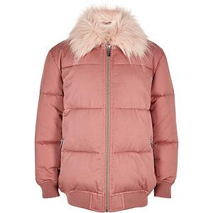 Manteau matelassé rose bordé de fausse fourrure pour fille