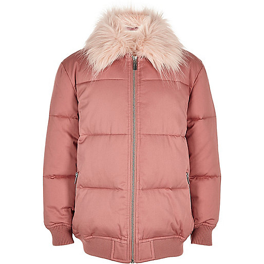 Girls pink puffer coat with faux fur collar