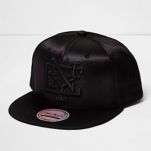 Girls black satin NYC cap