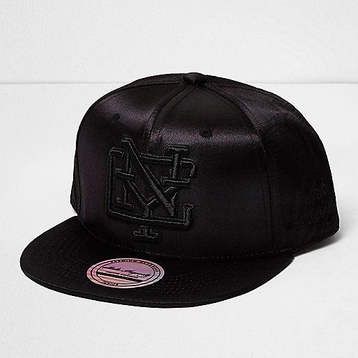 Girls black satin NYC cap