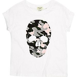 Mini girls white glitter skull print t-shirt