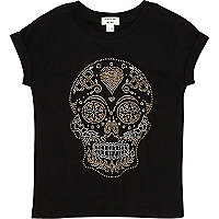 Mini girls black studded skull t-shirt