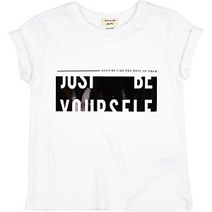 Mini girls white slogan print t-shirt