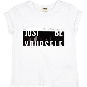 Mini girls white Newlife print  t-shirt