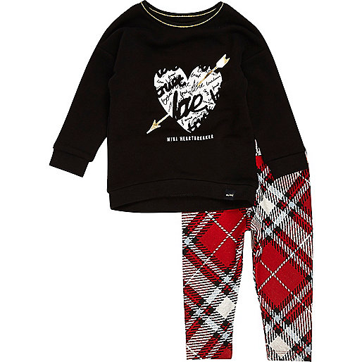 Mini girls black top tartan leggings set