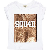 Mini girls white metallic print T-shirt
