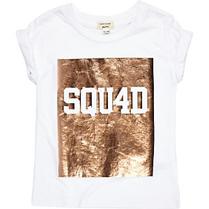 Mini girls white 'squad' foil print t-shirt