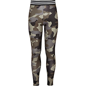 Leggings mit hohem Bund und Camouflage-Muster
