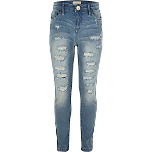 Amelie – Superskinny Jeans in blauer Waschung im Used-Look