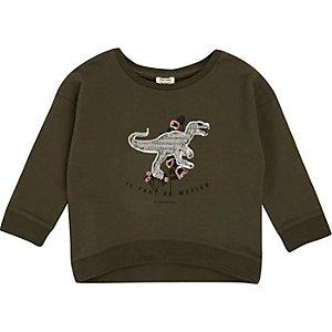 Grünes Pailletten-Sweatshirt mit Dinosauriermuster