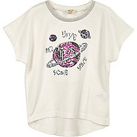 Mini girls white space sequin T-shirt