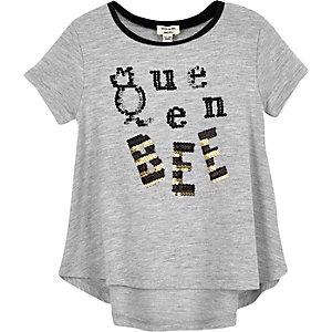 Mini girls grey 'Queen Bee' sequin T-shirt