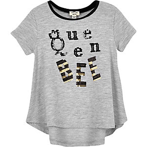 Mini girls grey 'Queen Bee' sequin T-shirt
