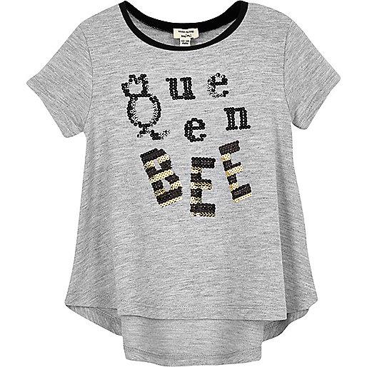 T-shirt gris inscription Queen Bee à sequins mini fille