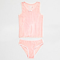 Girls pink pointelle tank and underwear