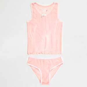Girls pink pointelle tank and briefs set
