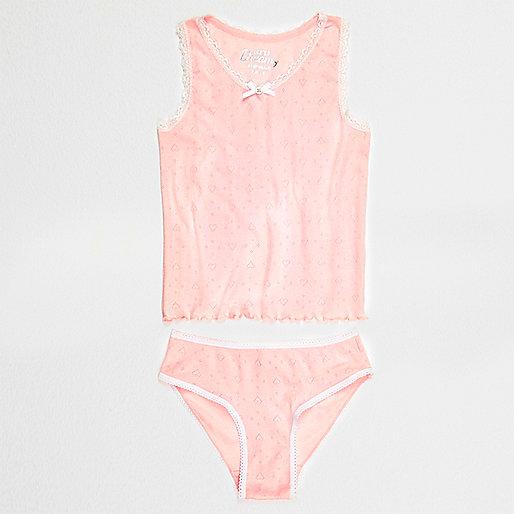 Girls pink pointelle vest and briefs set