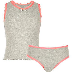 Girls grey pointelle tank and briefs set