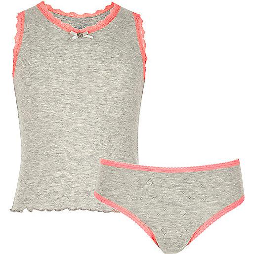 Girls grey pointelle vest and briefs set