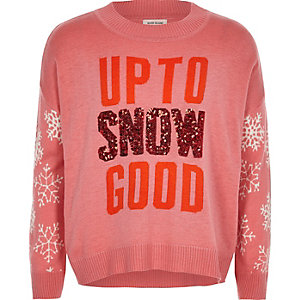 Girls pink knit snow sequin Christmas jumper