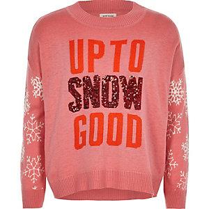 Pull de Noël en maille rose motif neige à sequins pour fille