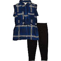 Mini girls blue checked shirt leggings outfit