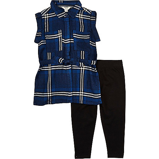 Ensemble legging et chemise à carreaux bleue mini fille