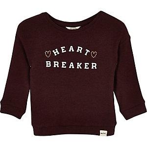 Dunkelrotes, bedrucktes Sweatshirt
