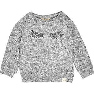Mini girls grey sweater with sequin eyelashes